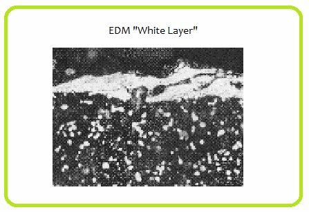 EDM white layer of tool steel caused by excessive exposure during the EDM process