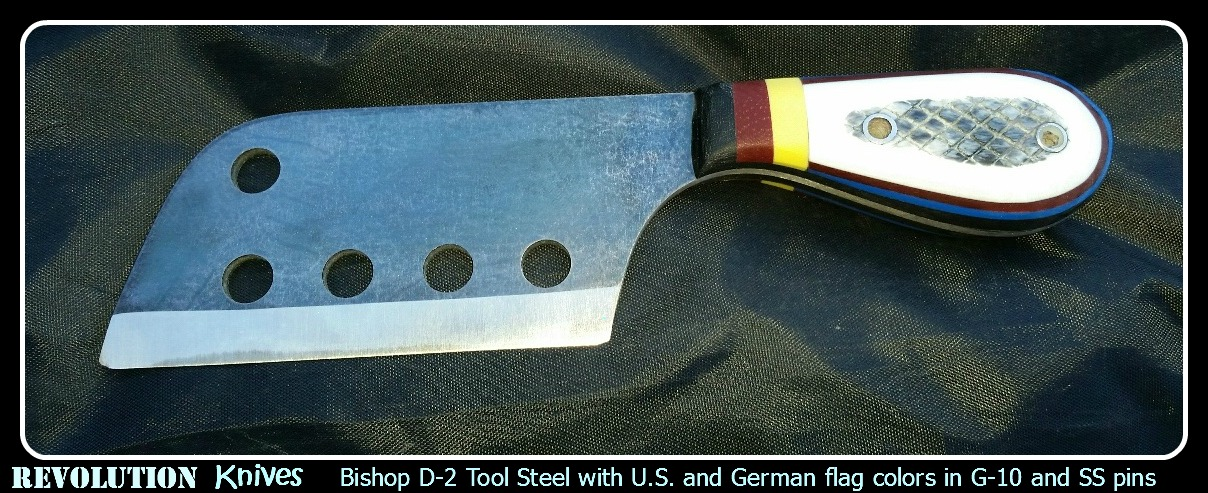 Revolution Knives Bishop D-2 Tool Steel with U.S. and German Flag Colors in G-10 with Stainless Steel Pins