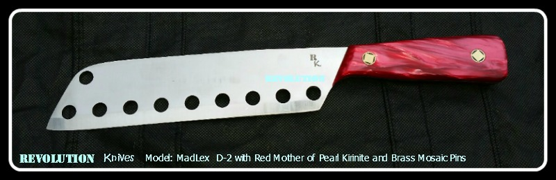 Revolution Knives MadLex D-2 Tool Steel Knife with Red Kirinite and Mosaic Pins