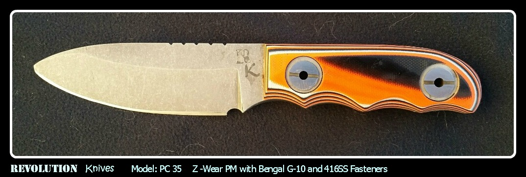 Revolution Knives PC 35 of Z-Wear PM with Bengal G-10 and 416SS Fasteners