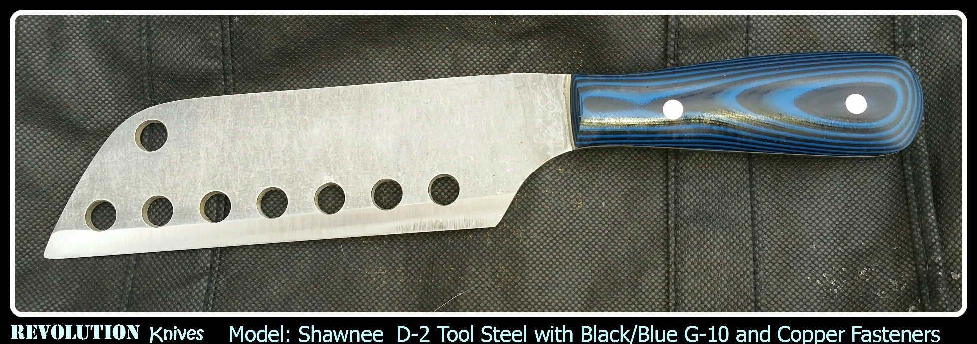 Shawnee D-2 Tool Steel with Black/Blue G-10 and Copper Fasteners